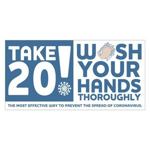 "Take 20! Wash Your Hands Sticker (4"" x 8"")"